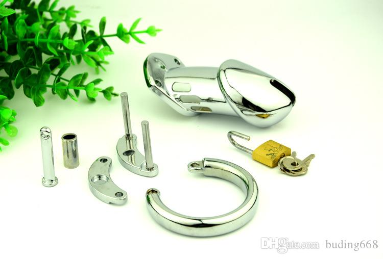 Stainless Steel Cock Cage Ring Chastity Cage Belt Sex Toys For Men Male Chastity Devices Penis Rings Virginity Lock Q668
