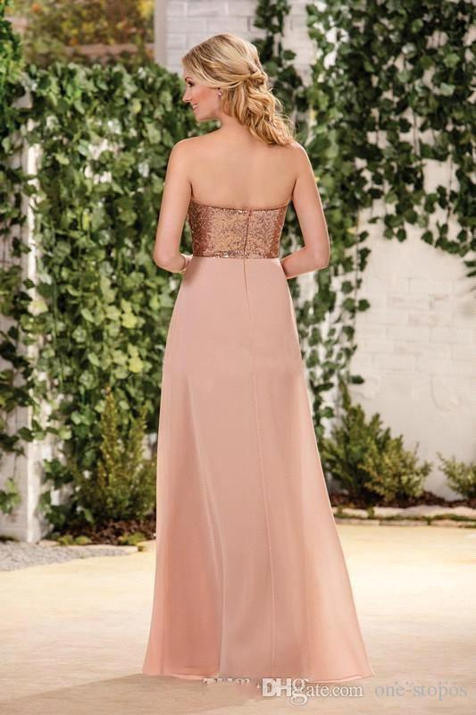 Top Rose Gold Lechas de oro Una línea Vestidos de dama de honor de estilo rural Sweetheart Chiffon Side Split Duración de piso Barato Maid of Honor Vestidos