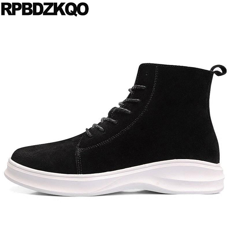 2dc985bfa46 Lace Up Black High Sole Shoes Men Ankle Platform Booties Winter Fur Boots  Top Suede Warm Flat Short Male 2017 Fashion Boots Office Shoes From  Gor2doe