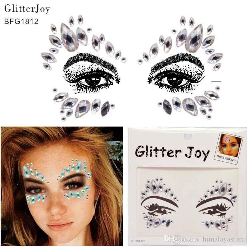 Bfg1812 Rainbow Clear Glitter Face Gem Tattoo For Christmas Party