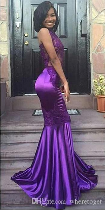 2019 New Lace Purple Halter backless Mermaid Prom Dresses long Cheap illusion bodice Sexy formal Dresses Evening Wear Arabic Party Gowns