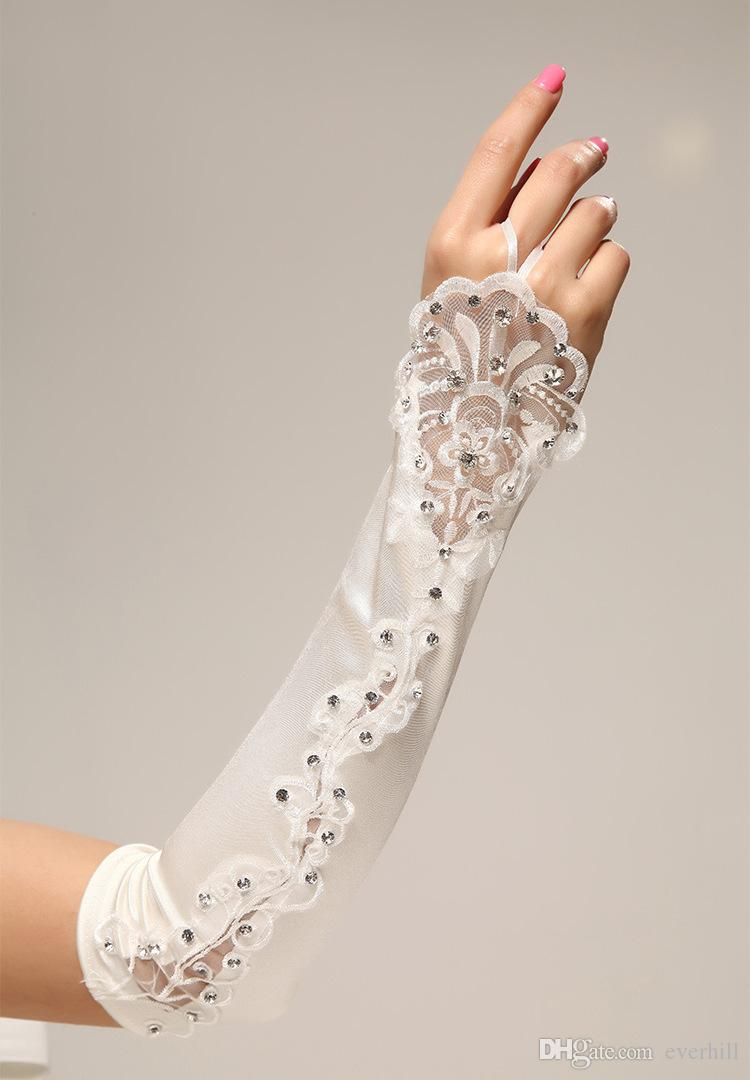 Jane Vini Ivory Long Fingerless Bridal Glove Luxury Beaded Ring Bride Gloves Lace Satin Above Elbow Length Gothic Wedding Gloves Accessories