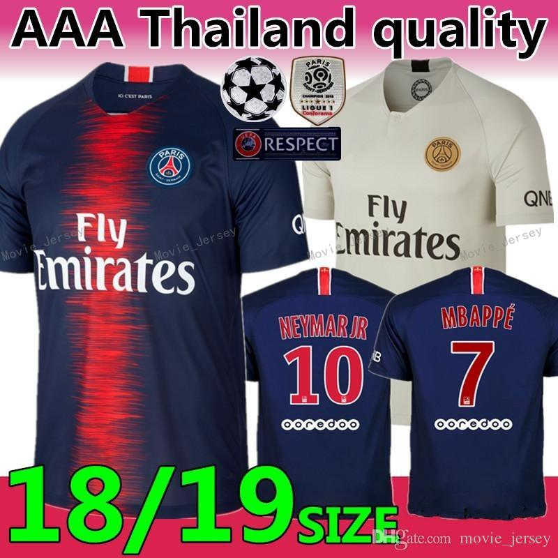 best loved 7073d 2d105 Paris Saint Germain Mbappe #7 soccer jersey 2019 Thai Quality Cavani Mbappe  Soccer Shirts Verratti Di Maria football uniforms
