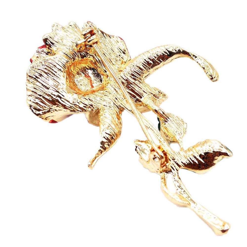 2017 Three-Leaf Rose Flower Brooch With Rhinestone Garment Accessories Wedding Bridal Jewelry Crystal Pins For Women And Men