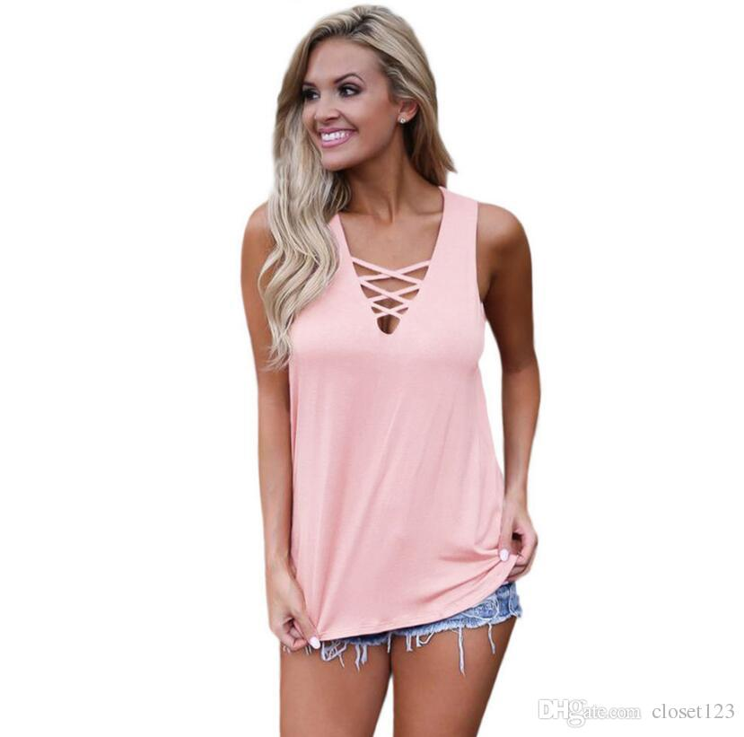 4f803dcea99 2019 V Neck Sexy Women Criss Cross T Shirt Summer Party Dress Tee Home And  Out Casual T Shirts Short Sleeve Women Tops From Closet123
