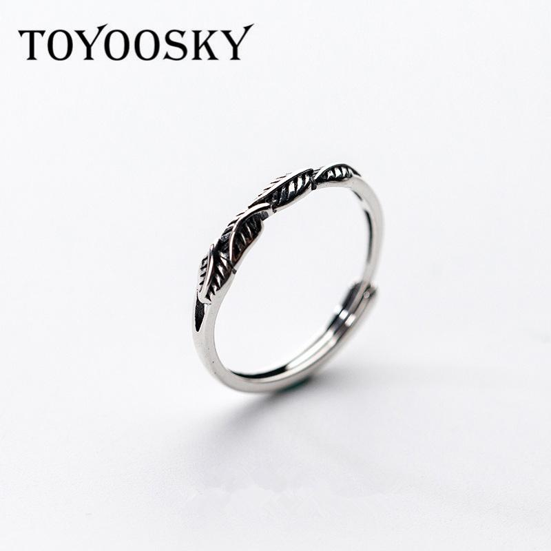 88bef177ca71f Unique Design Leaves Ring Real Pure 925 Sterling Silver Open Rings Retro  Adjustable Fingers For Women Men Fashion Simple Jewelry