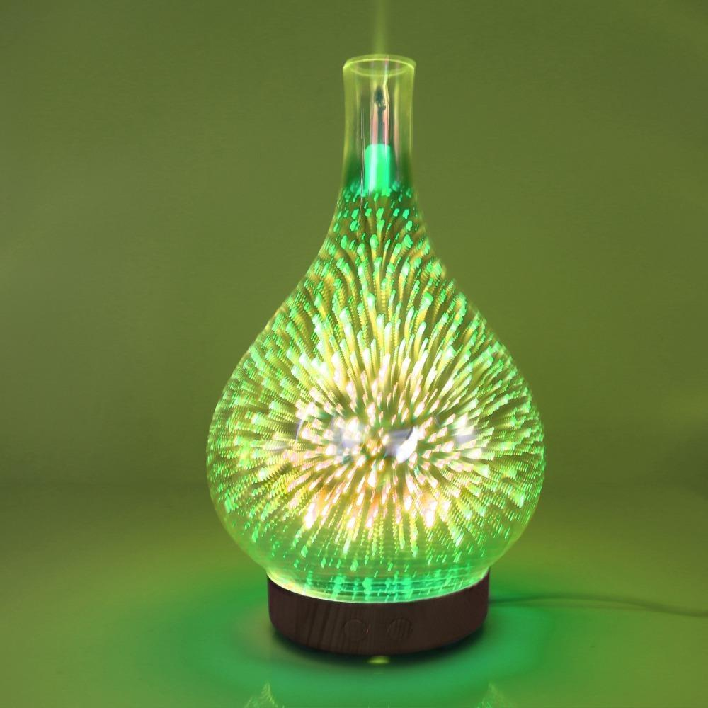 Creative night light 3D glass fireworks aromatherapy machine colorful LED  gradient color aroma humidifier