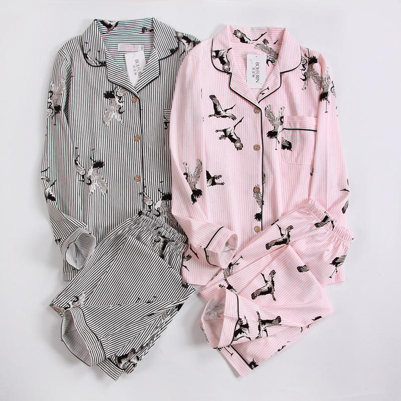 2019 Swan Print Fashion Stripe Pajama Sets Women Long Sleeve 100 ... 7db2ff92d
