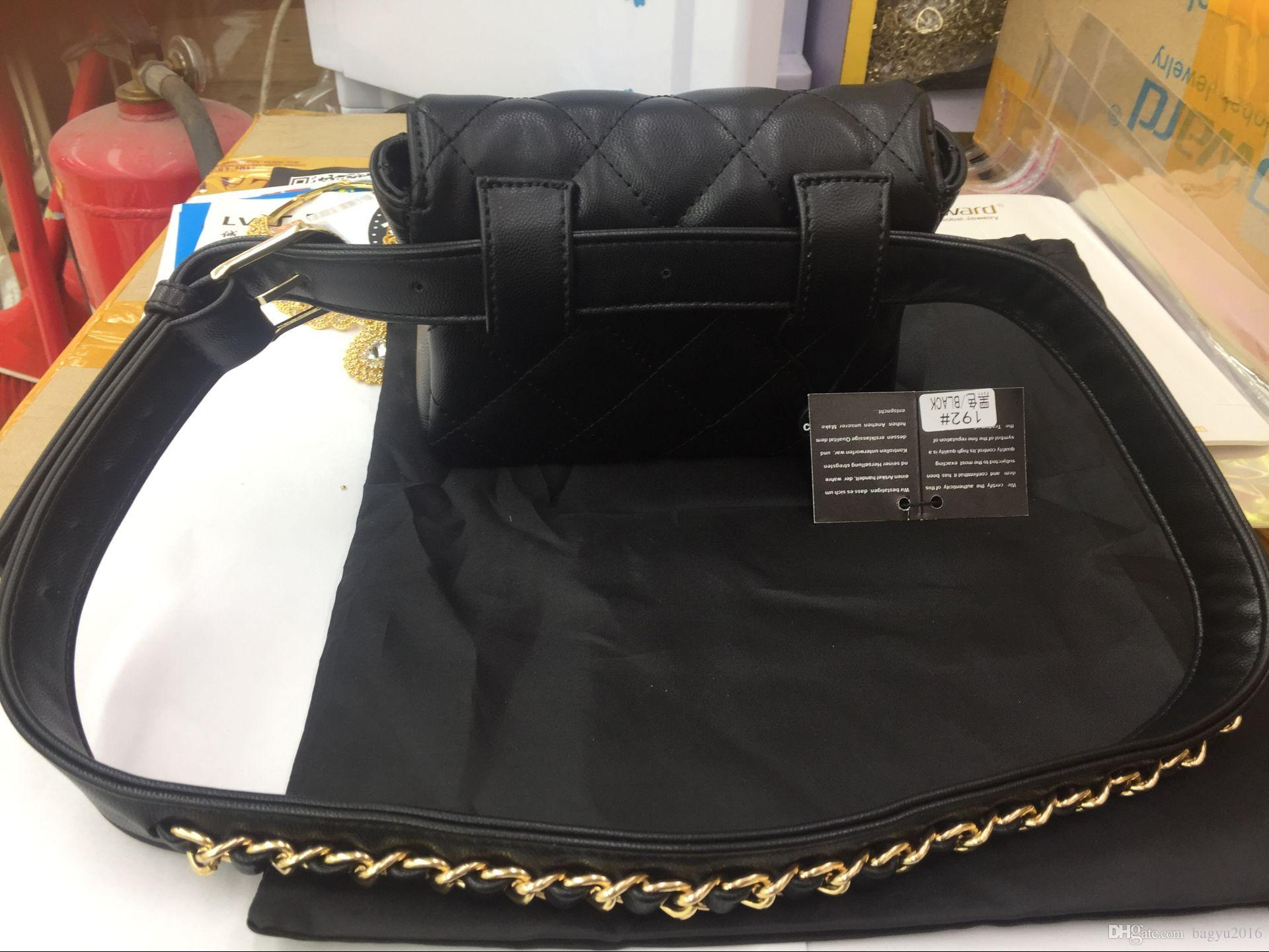 d29219530718 Thread Leather Women Bags Waist Bag Flap Chains Belt Bag Mini Waist Flap  Bag Black Red Fashion Handbags Bags For Sale From Bagyu2016