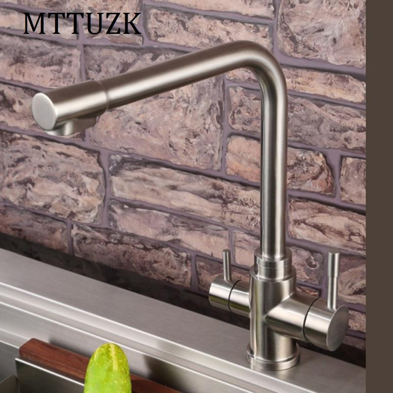 2018 Mttuzk 304 Stainless Steel Brushed Kitchen Faucet Hot&Cold Pure ...