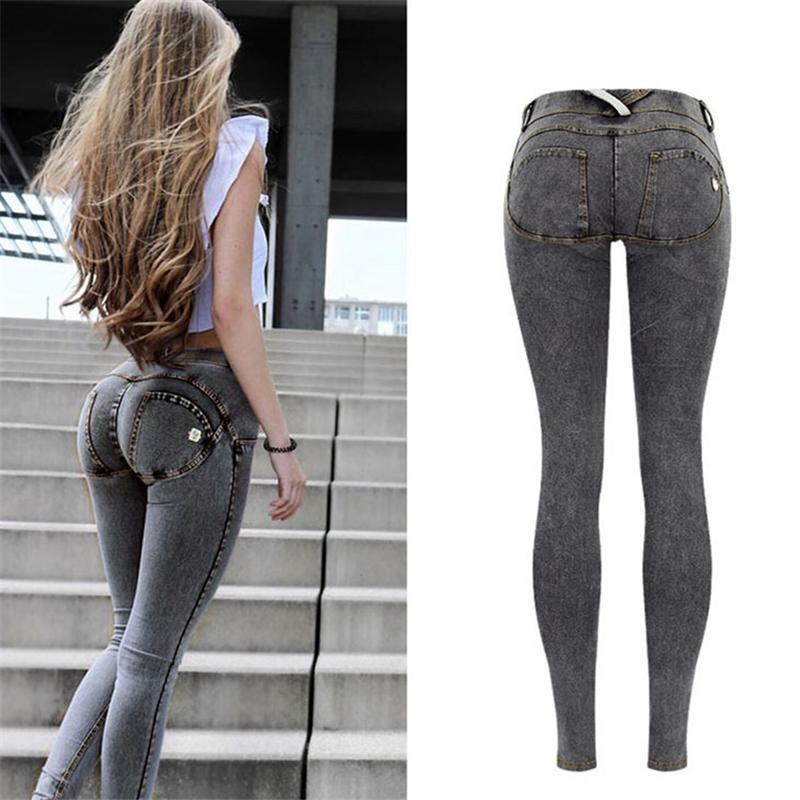 756ba22e118d Acheter Sexy Taille Basse Jeans Femme Pêche Push Up Hip Skinny Denim  Pantalon Pour Femmes Boyfriend Jean Pour Femmes Élastique Jeans Gris Plus  La Taille ...