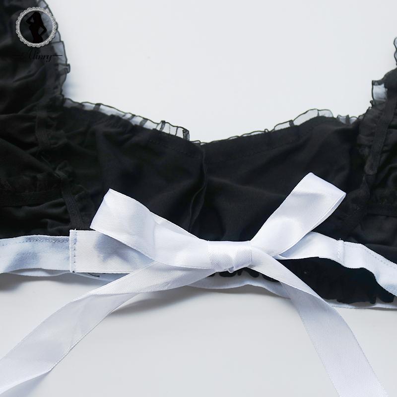 ALINRY sexy lingerie set kadınlar hizmetçi cosplay erotik kostüm lace up üniforma açık kasık backless iç çamaşırı rol oynamak lenceria sıcak