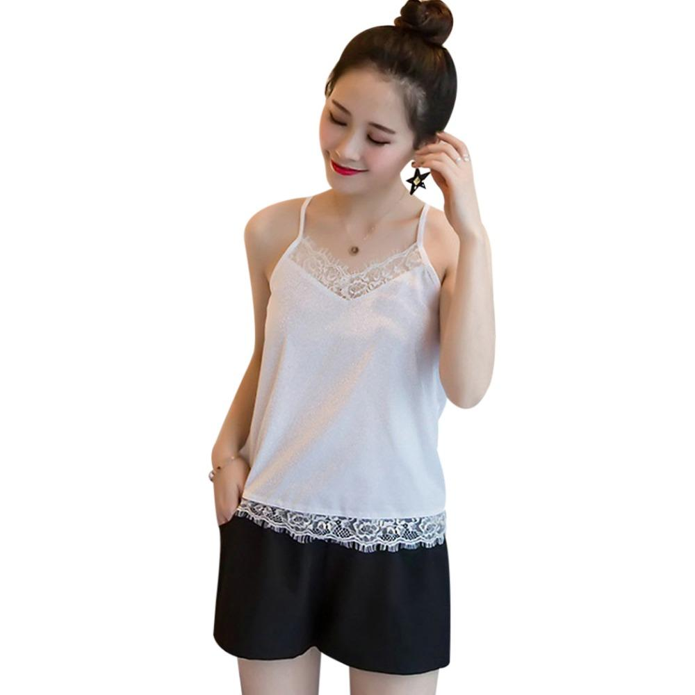 988ae4aa0b278 2019 Sexy Lace Tank Top V Neck White Black Cami Top 4XL 5XL Womens Plus  Size Chiffon Singlet Ladies Summer Tops Backless Shirts 2018 From Marryone