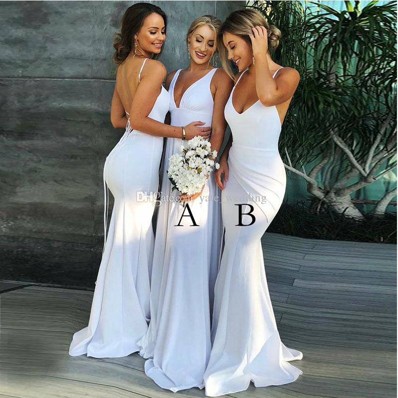 White Mermaid Bridesmaid Dresses V Neck Spaghetti Straps Satin Backless Long Bridesmaid Gowns Sexy Wedding Guest Dresses