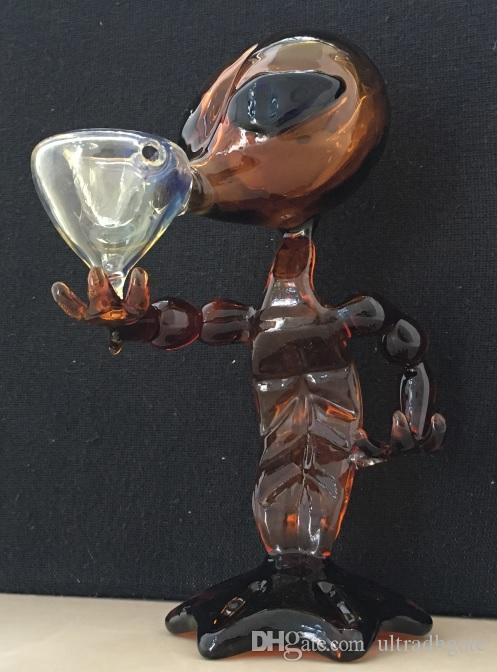 10 pçs / lote Estrangeiro Tubo De Vidro De Vidro Tubos de Água de 7 polegada de Altura de vidro Tubos de Fumo Alien Bong Água