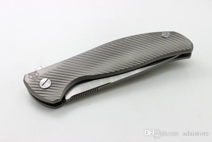 Flipper Modèle 95 Division personnalisée w / Nudiste Ti Cadre Blanc Titane Poignée D2 Lame Couteau Pliant EDC Outils Tactiques Livraison Gratuite