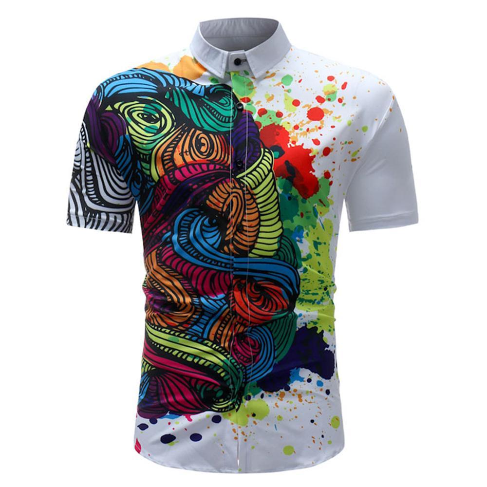 ... Salpicado De Pintura De Impresión Para Hombres Camisas De Verano  Camisas De Manga Corta Para Hombres Ropa De Algodón Marca De Negocios  Informal Slim Fit ... e95ce1079de15