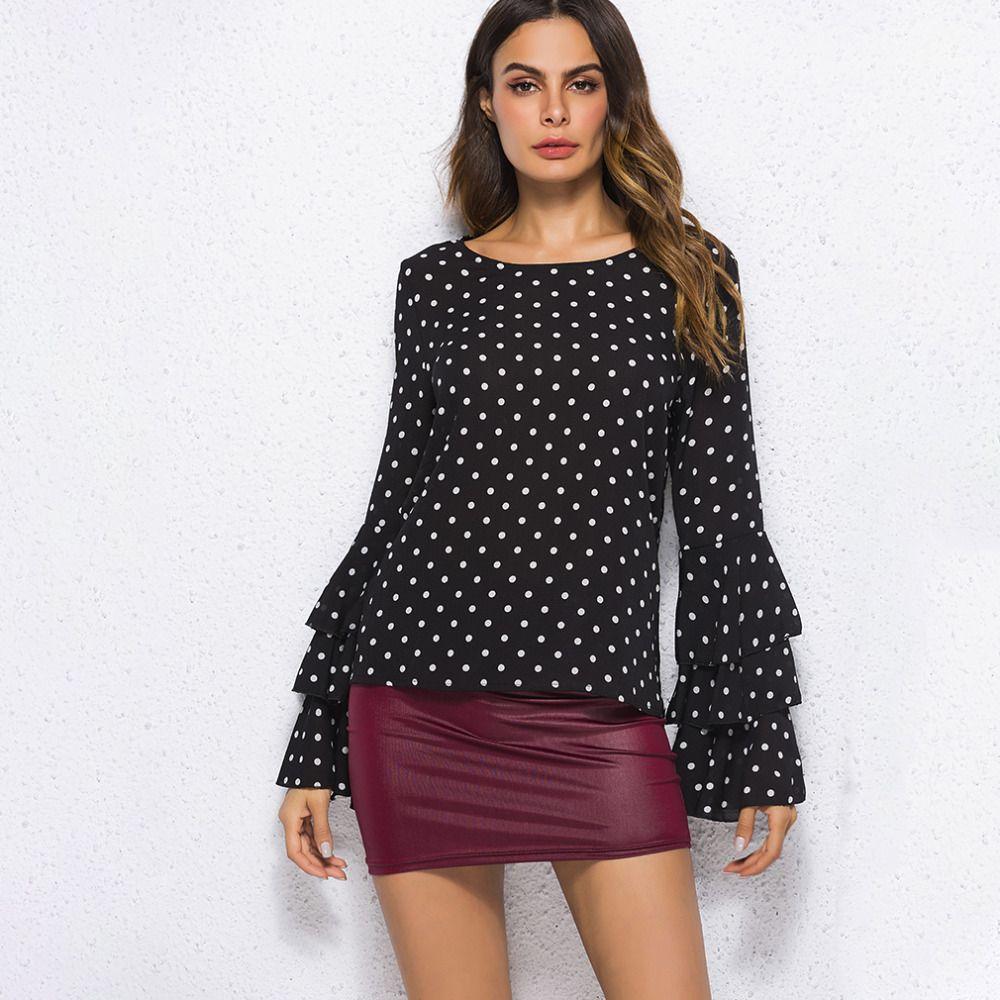36be80e4bc1 New Polka Dot T-shirt Women Autumn Summer Shirts Flare Sleeve ...