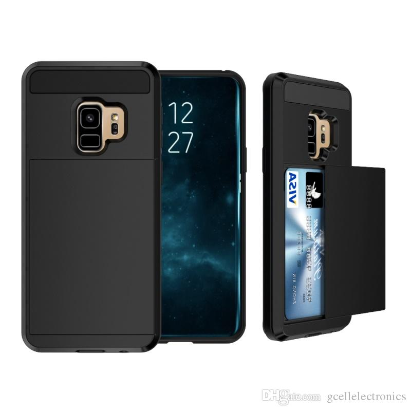 Slide Card Holder Hybrid Cell Phone Cases For Iphone XS Max XR Samsung Galaxy S10 Plus S10e J6 J7 2018 Hard Mobile Case