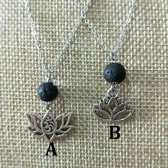Wholesale Lotus Flower Natural Black Lava Diffuser Necklace Volcanic