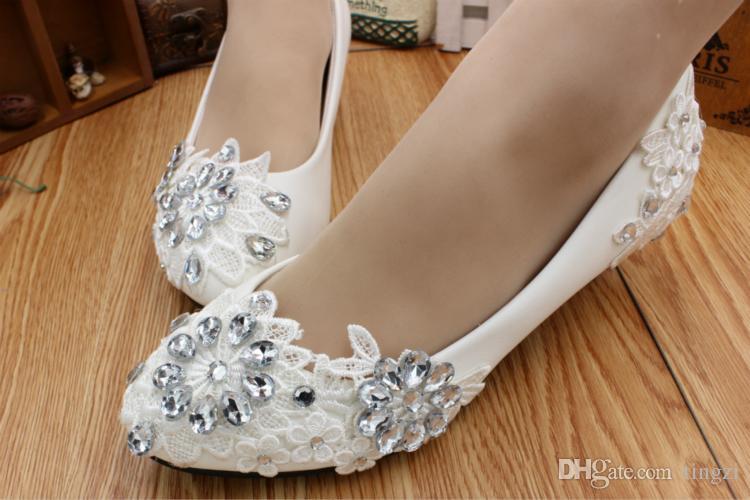 Elegant Crystals Lace Bridal Shoes Women 3Cm Kitten Heels Party Girls Ladies Pump Wedding Shoes For Women 5Cm/8Cm Heels