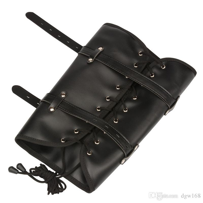 Leather Bondage Gear Fetish Slave Arm binder Leg body Fixed Handcuff with Chain BDSM Hand Cuffs Restraints Sex Games Toys Fixed Arm Harness
