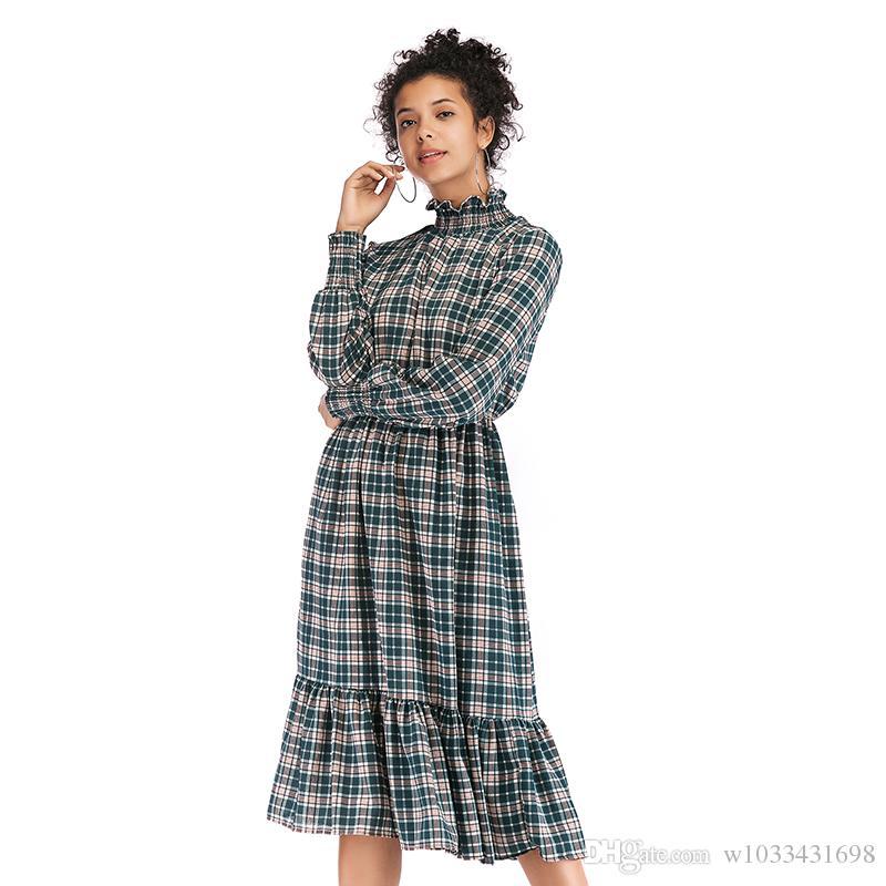 5f160aa9df3a Acquista Abbigliamento Donna In Tartan Abito Manica Lunga In Chiffon  Stampato A Sirena Abito Casual In Stile Sirena Streetwear Moda Al Ginocchio  Abito Da ...