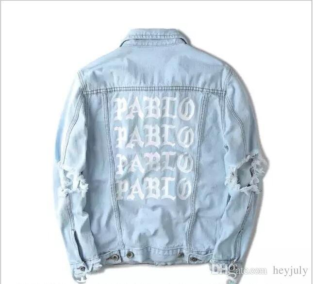 cf7895e1afa Brand Designer -KANYE Mens Denim Jackets Light Blue Letters PABLO ...