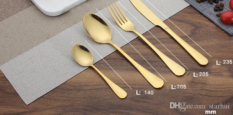 Conjuntos de cubiertos de oro de acero inoxidable Cuchara Tenedor Cuchillo Té Juego de vajilla de cocina Utensilio de cocina Bar 4 Conjuntos de estilo WX9-377