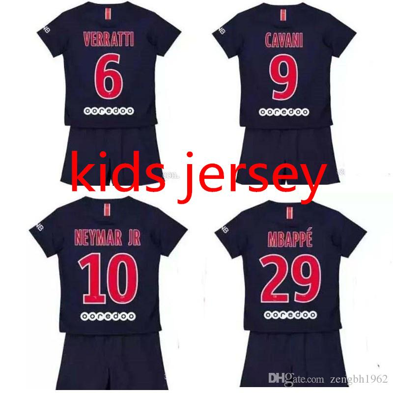 competitive price 7c5e0 9dc02 18 19 NEYMAR JR kids soccer jerseys DI MARIA MBAPPE boy football shirt 2018  2019 DANI ALVES jersey maillot de foot