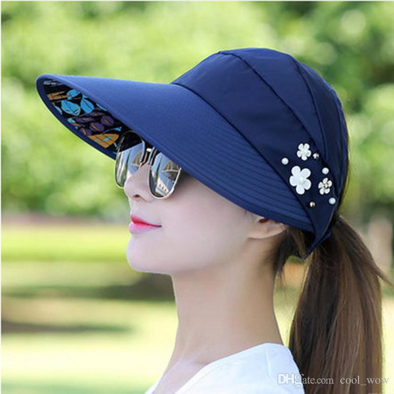 3655bd9643b46 Topee Topi Sun Hat With Beading Floral Anti Sun Baseball Hats Foldable Cap  Beach Portable Waterproof Hat For Women With Hole Pork Pie Hat Snapback Hats  From ...