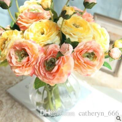 Mini Cute Camellia Tea Rose Flower Popular and Classic Design Shape Silk Ranunculus Artificial Flowers Spring Table Flower Arrangement