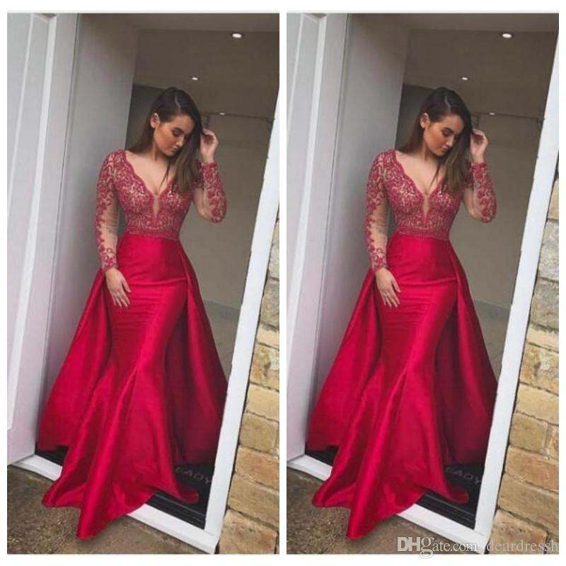 2f8bf3062 V Neck Long Sleeves Mermaid 2019 Prom Dress With Over Skirts Lace Appliques  Mermaid Formal Wear Evening Dresses Satin Sweep Train Plus Size Prom Dresses  ...