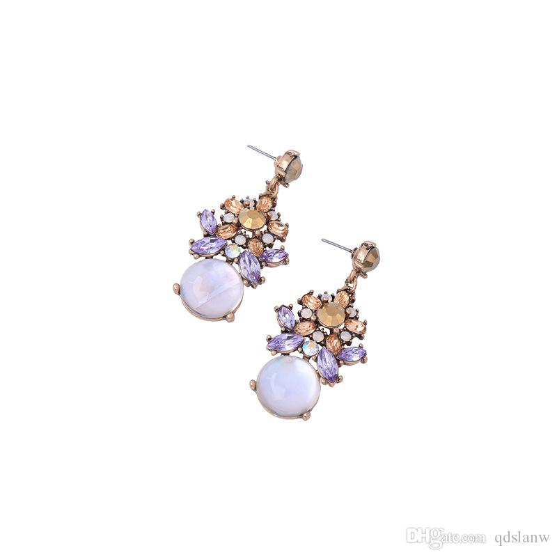 2018 new design cute round Shape stone Pendants Dangle Earrings Flower Plant Brincos Golden Plated Blue Crystal Earring Boucle D'oreill whol