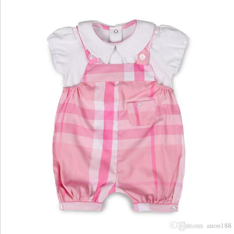 b2451d771e2 2019 Baby Girls Rompers Summer Romper Cotton Newborn Baby Girls Clothes  Roupas Bebe Infant Jumpsuits Toddler Plaid Kids Children Clothes Bodysuit  From Anon2 ...