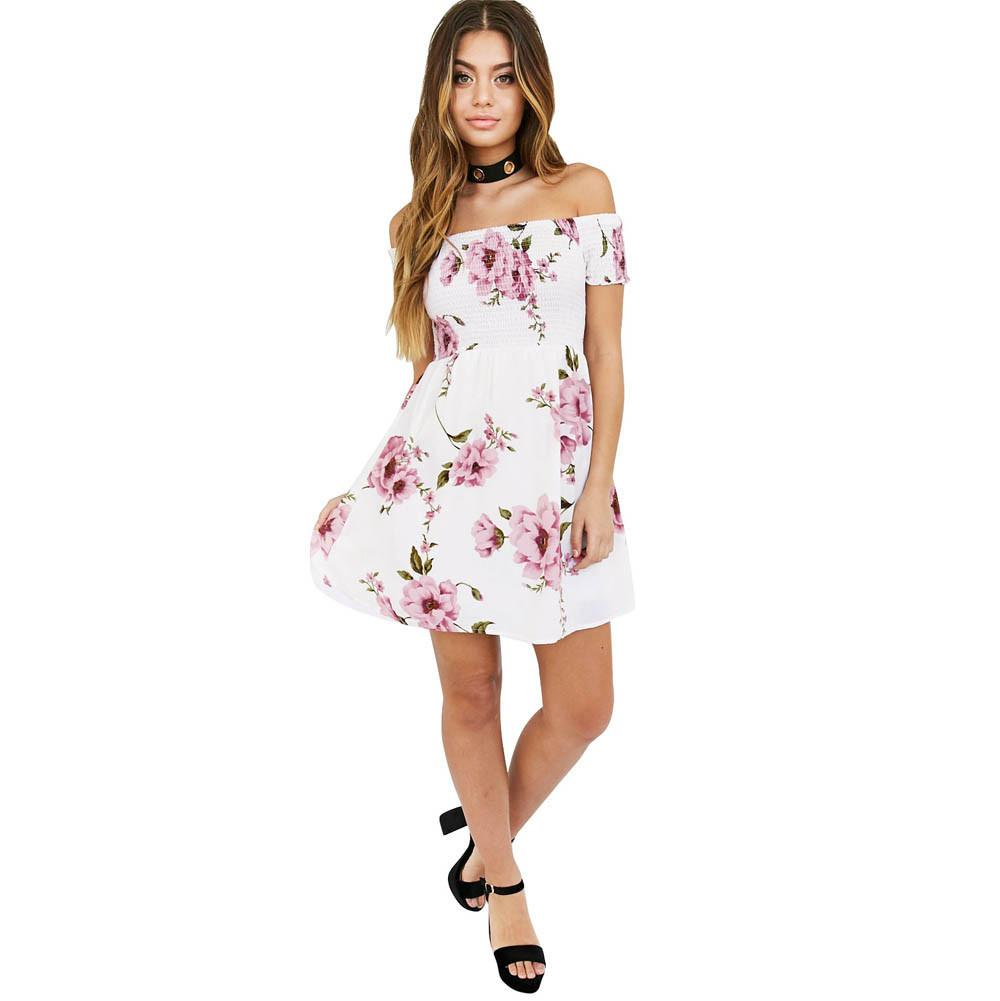 2a6fcb7ada Compre Batas De Vestir Para Dama Estilo Coreano Moda Para Mujer Hombro  Playa Floral Fiesta De Noche Informal Mini Vestido Corto Vestido De Renda A   25.96 ...