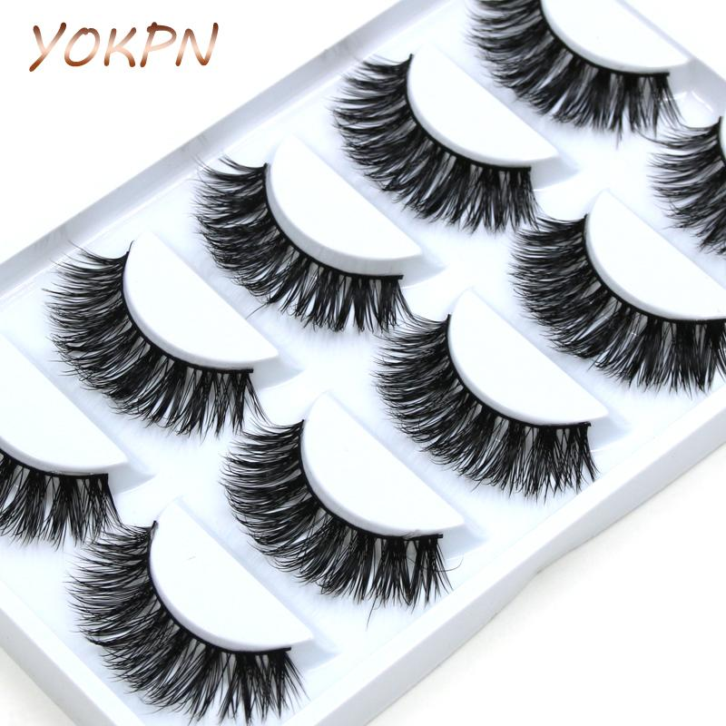 YOKPN 5 pairs Handmade Cotton Stalk Water Mink False Eyelashes Cross Messy Dense Natural Eye Lashes Stage Makeup False Eyelashes