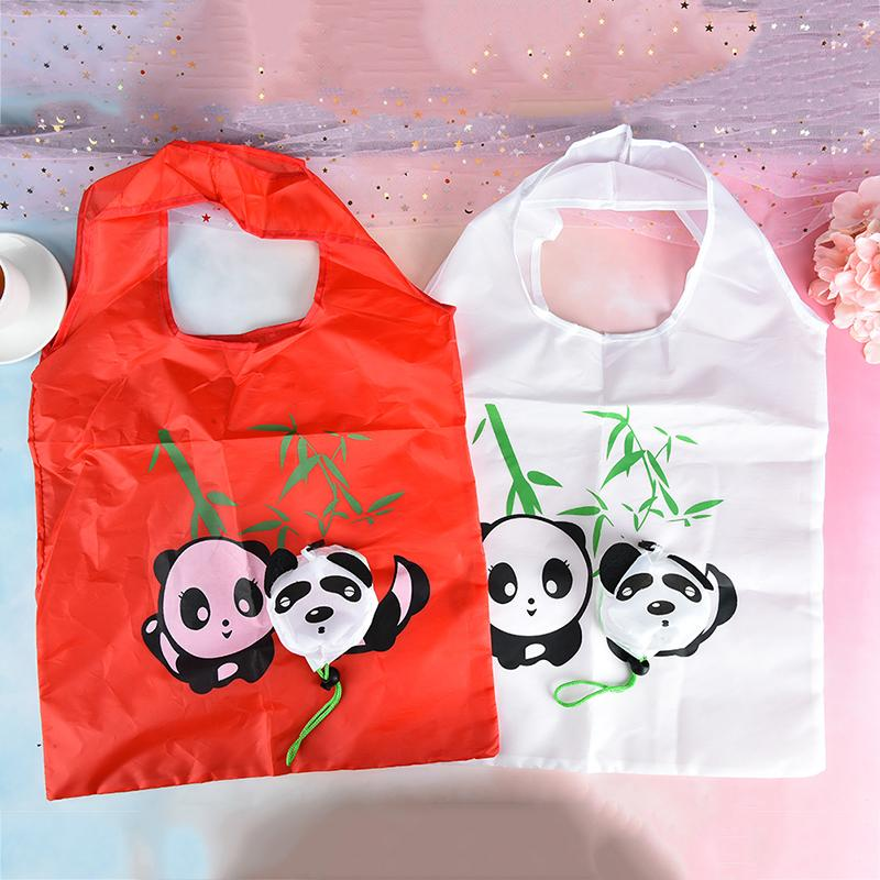 Hot Sale Panda Foldable Polyester Eco Reusable Shopping Bags Cute Lady Portable Large Supermarket Folding Pouch Obag