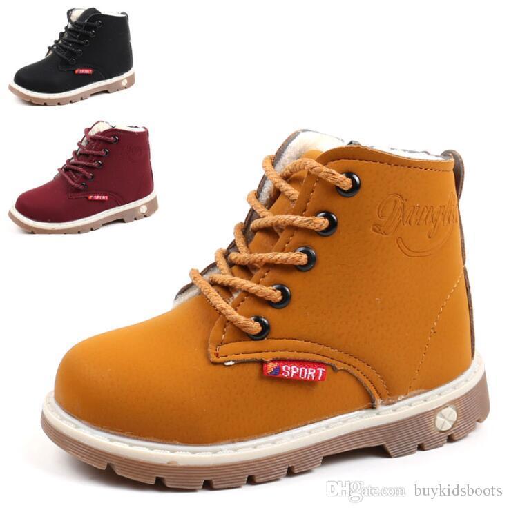 560dc827028a74 Compre Botas De Nieve De Piel Cálida Zapatos Para Niñas Niños Botas Martin  Botas Inferiores Suaves Para Bebés Botines Otoño Invierno Botas Zapato KIDS  7154 ...