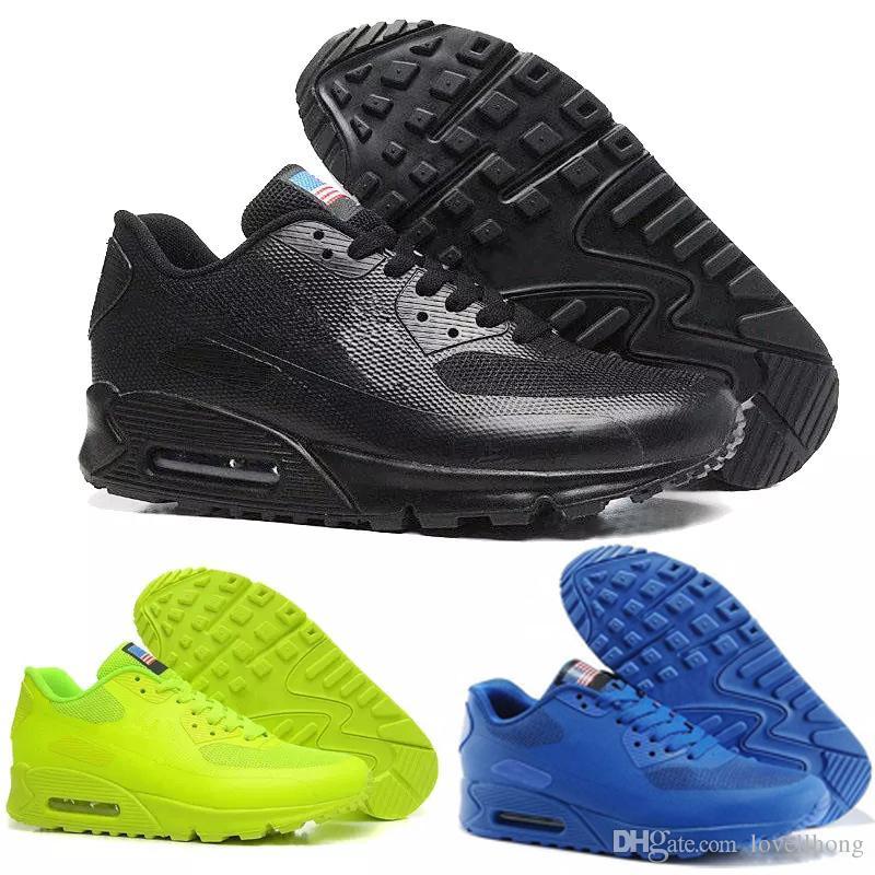 more photos 012cb 1e9ae Acheter Nike Air Max 90 HYP PRM QS 2018 Alr 90 HYP PRM QS Hommes Femmes  Chaussures De Course Alr Drapeau Américain Des Années 90 Noir Blanc Bleu  Marine Or ...