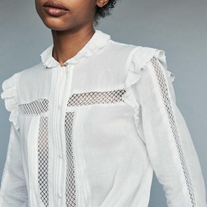 Free shipping ruffles collar hollow out lace embroidery patchwork women fairy white 100% cotton blouse shirts