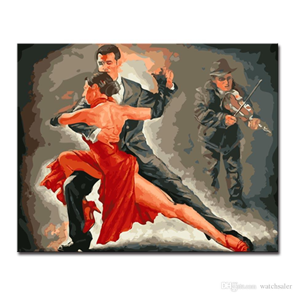 DIY Oil Painting By Numbers Kits HandPainted Men Playing Violin Lover Tango Latin Dancing Canvas Pictures Home Decor Wall Art
