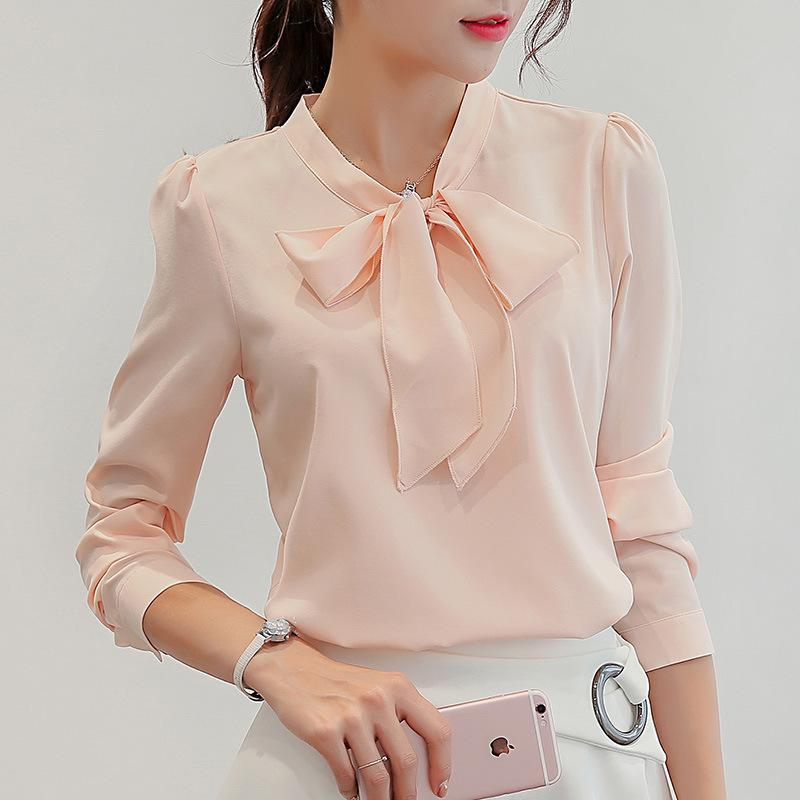 20aeb2f3147 2019 Harajuku New Spring Summer Blouse Women Long Sleeve Shirts Fashion  Leisure Chiffon Shirt Bow Office Ladies Pink White Tops Y1891109 From  Zhengrui05