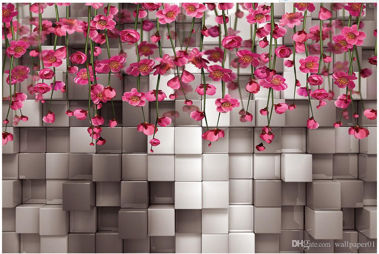 Acheter Papier Peint Photo Personnalisé KTV 3D Original Noir Et Blanc Carré  Fleur Rouge Rotin TV Fond Mur TV Fond 3D Mural Papier Peint De $40.21 Du ...