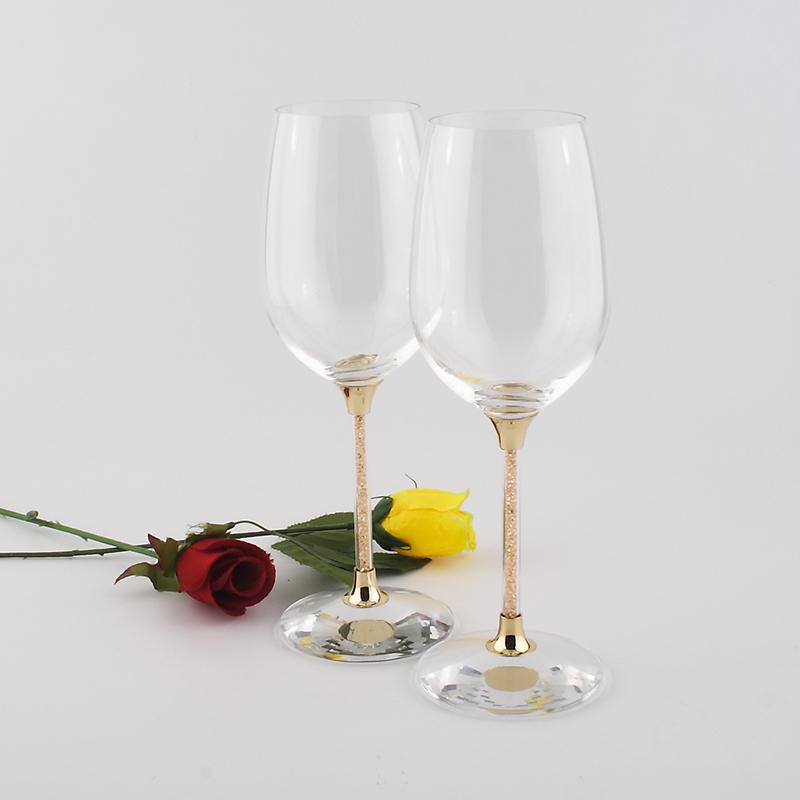 clear crystal 597ml wedding drinking wine glasses wedding red wine glasses set with stem filled rhinestones and crystal