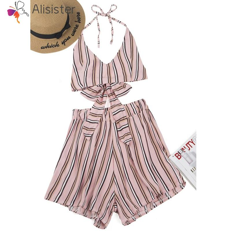 d459f84b7ac5 2019 2018 Summer Women Suit Two Set Sleeveless Spaghetti Strap Sexy Casual  Beach Suit Knot Back Striped Floral Shorts From Junxcj, $25.98 | DHgate.Com
