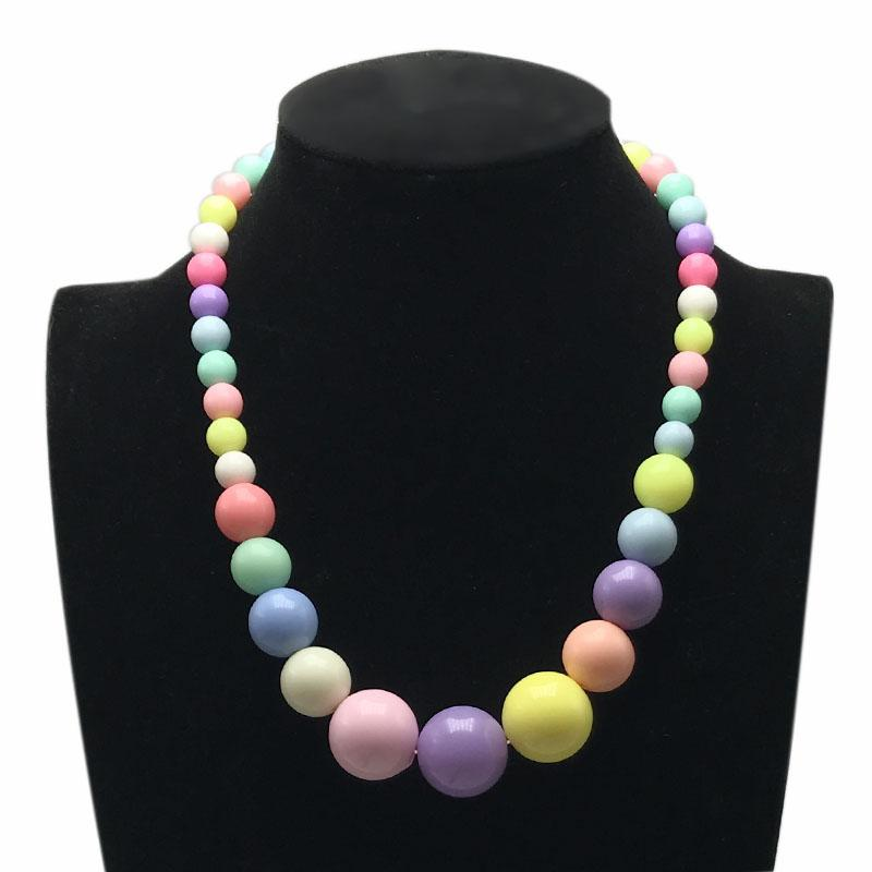 Fashion Lovely Beaded Necklace Short Chokers Necklace For Kid Girls Children's Jewelry 40cm 16inch 4 Candy Colors