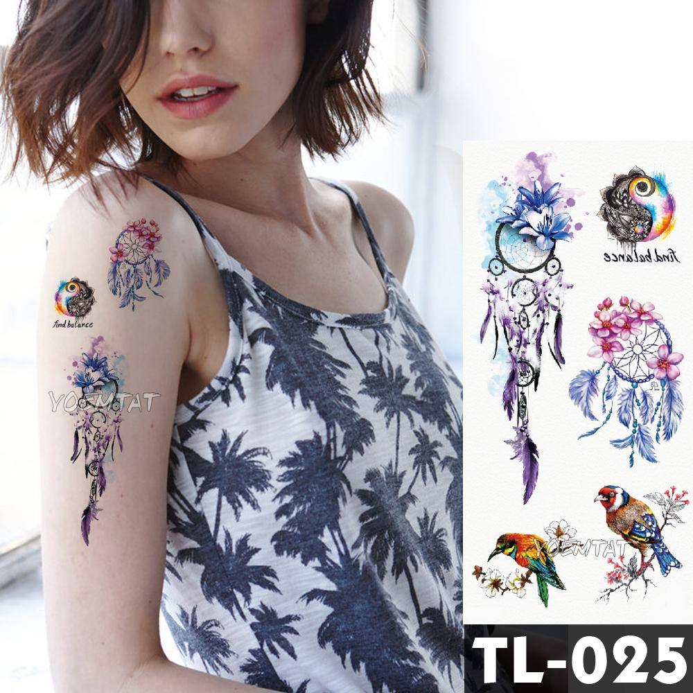 Dreamcatcher Flower Tattoos Bracelet Temporary Tattoo Stickers