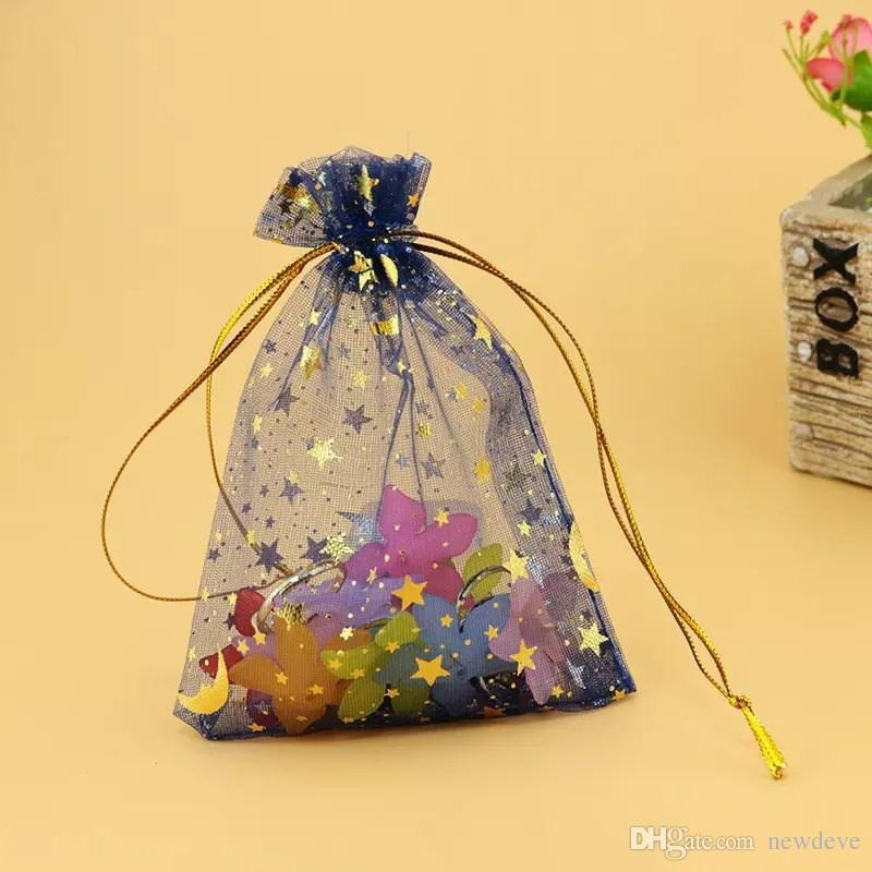 Hot Sale Organza Colorful Bags Moon and Star Drawstring Pouches Popular Gift Bags&Pouches Cheap 7*9cm Jewelry Bag