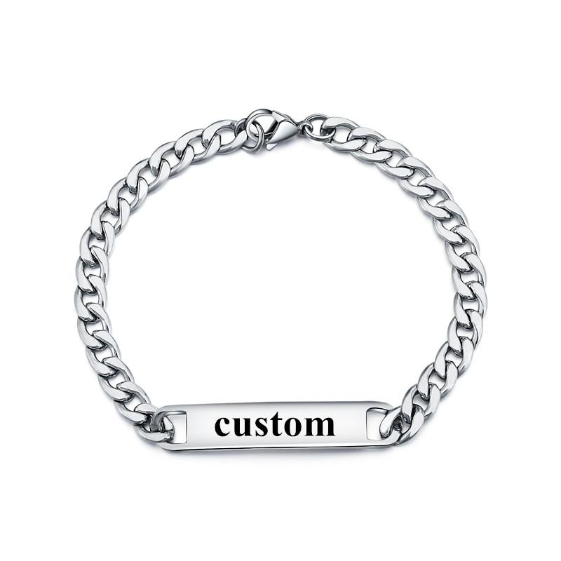 2019 Customized Name ID Bracelets Female Male Personalized Gift,Stainless Steel Name Engraved ID Tag Bracelet Dropshipping From Watercup, $35.42 | DHgate.
